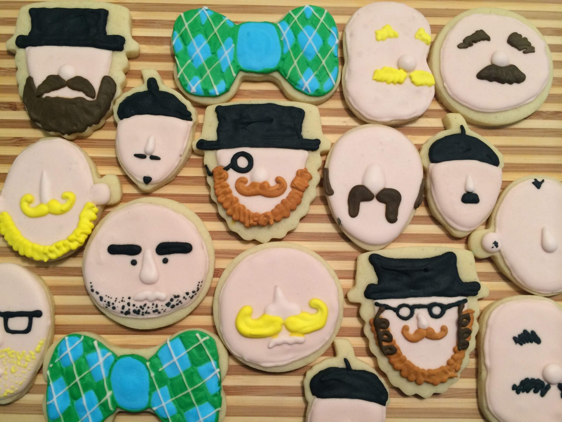 beard man bow tie sugar cookies royal icing