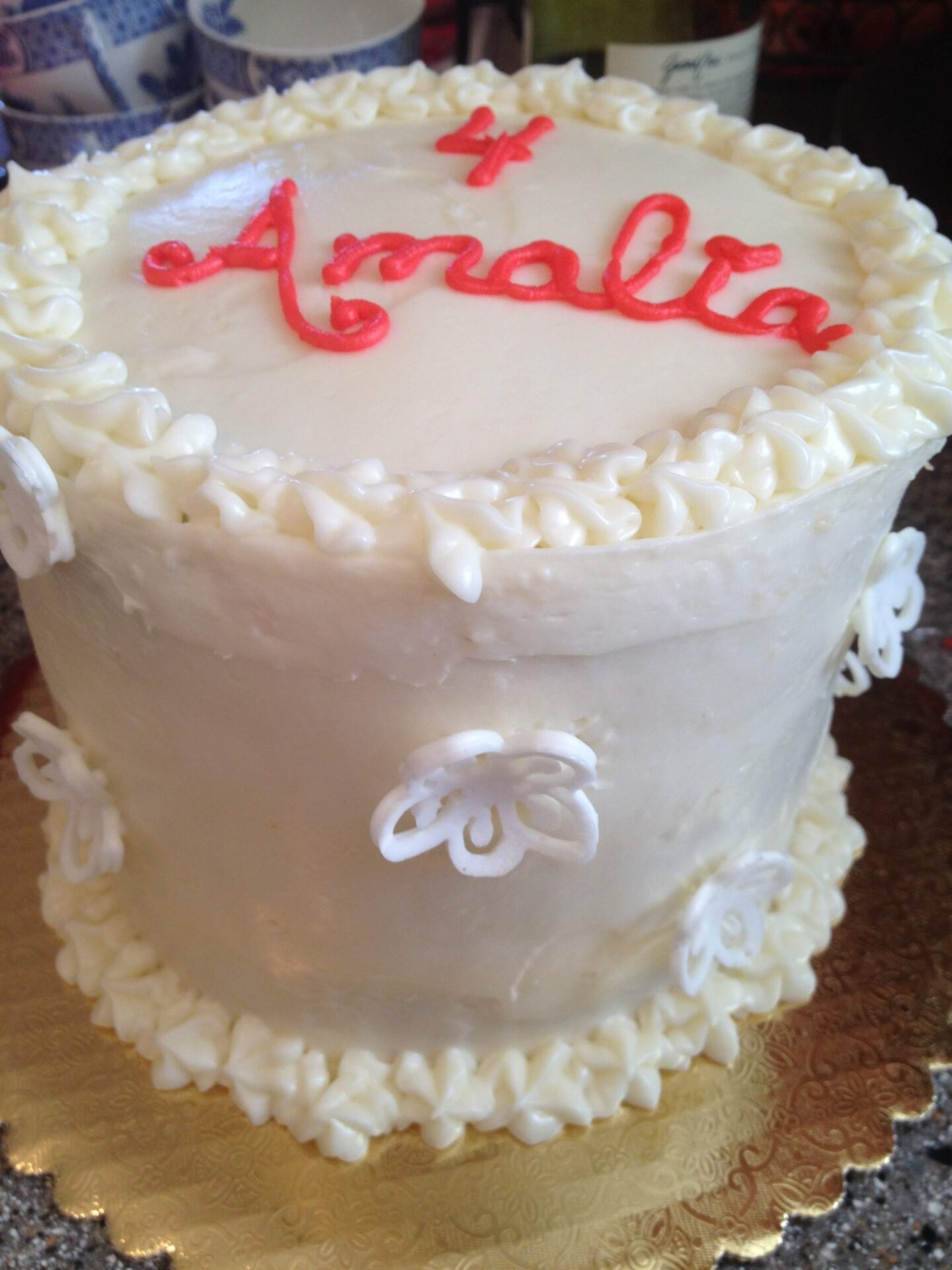 white cake royal icing flowers 3D