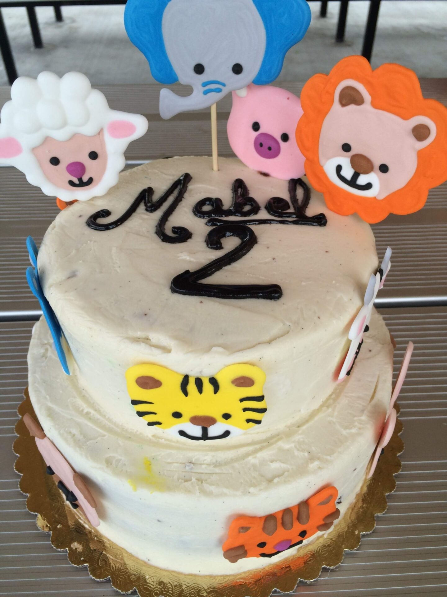 animal cake farm animals royal icing two tier lion sheep pig tiger