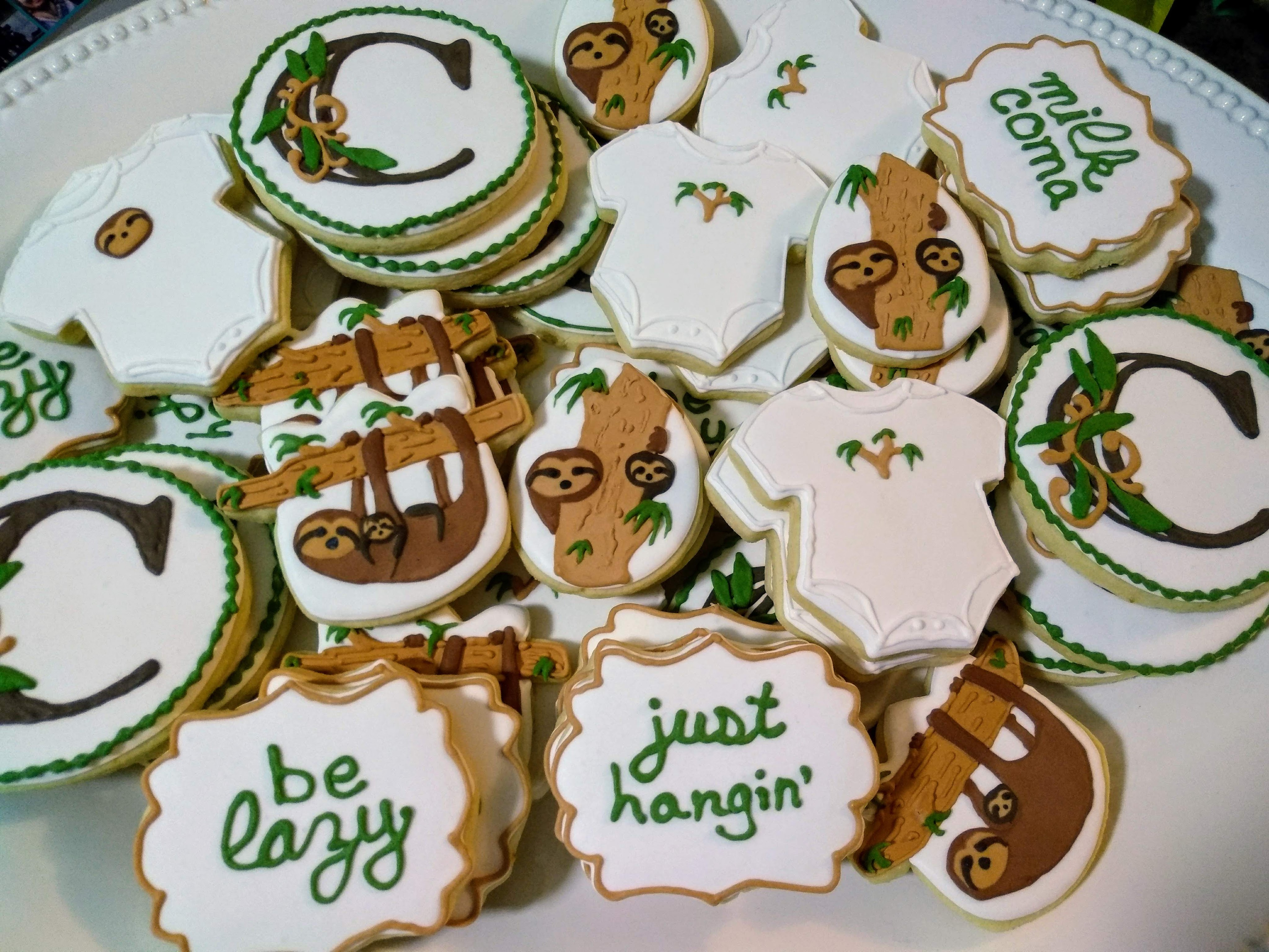 sloth baby shower royal icing sugar cookies be lazy milk coma just hangin'