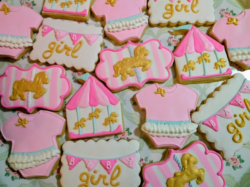 baby girl carousel royal icing sugar cookies