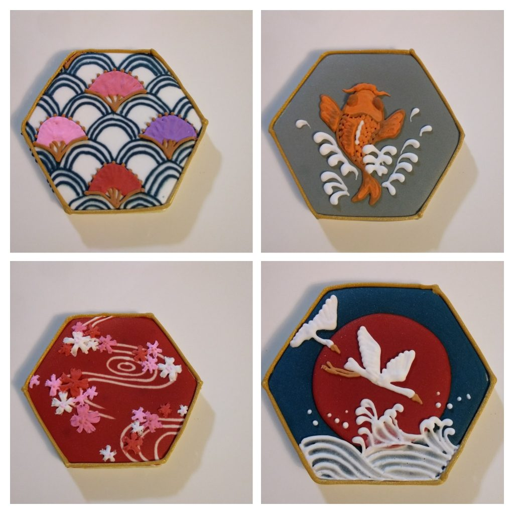 Japanese pattern royal icing sugar cookies