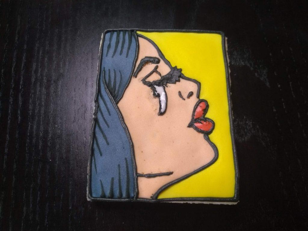 royal icing pop art sugar cookie woman